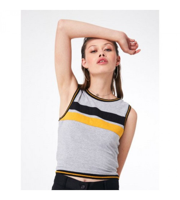 Jennyfer Ladies Stretch Cropped Sleeveless Tops