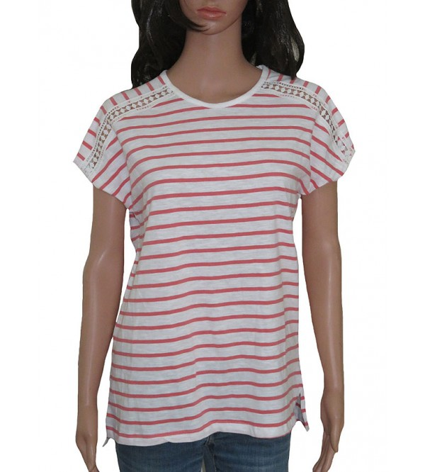 Ladies Striped Fancy T Shirts With Crochet