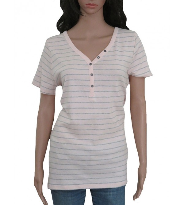 Ladies Striped Henley T Shirt