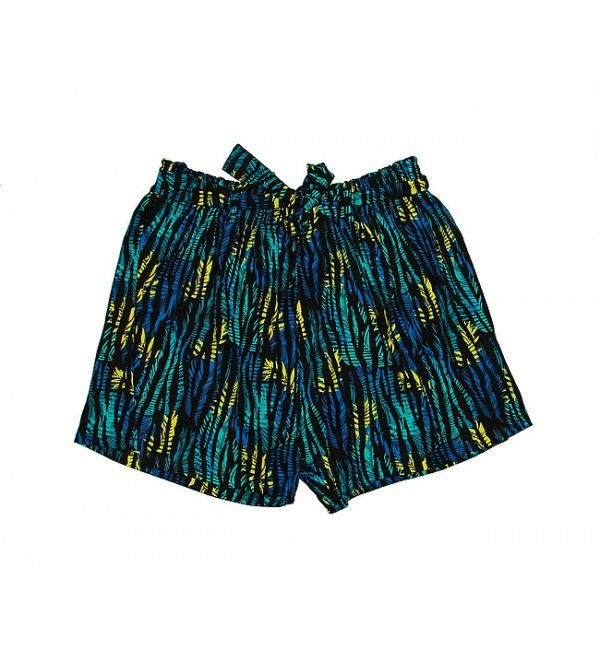 Ladies Printed Polyester Shorts with belt
