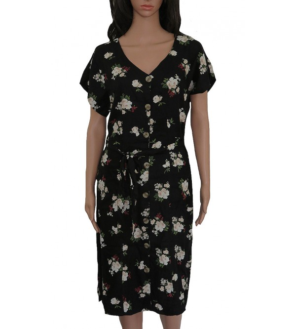 Ladies Rayon Woven Flower Printed Flutter Shirt Dress