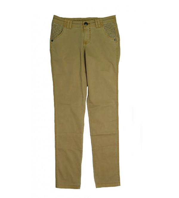 Ladies Regular Fit Stretchable Twill Pant With Stone