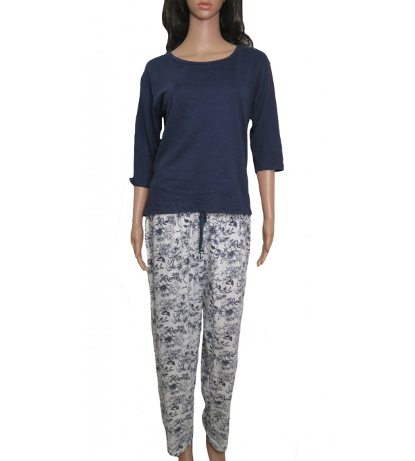 Ladies Printed Knit  Pyjama Set