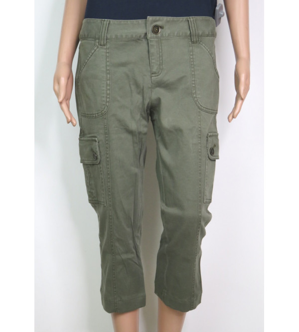 Ladies Washed Woven Cargo Capri