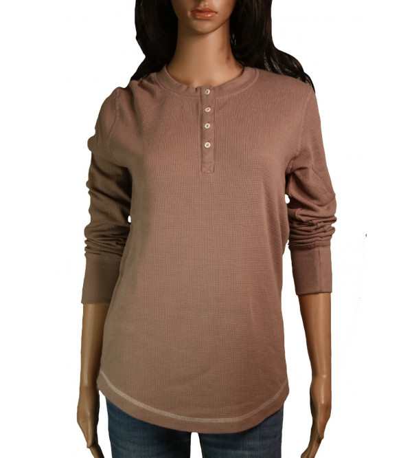 Ladies Waffle Henley Long Sleeve T Shirts