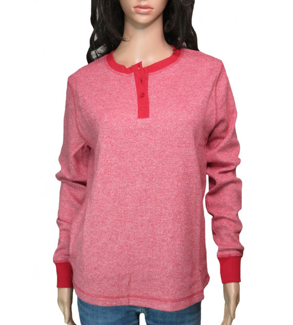 Ladies Grindled Henley Long Sleeve T shirts