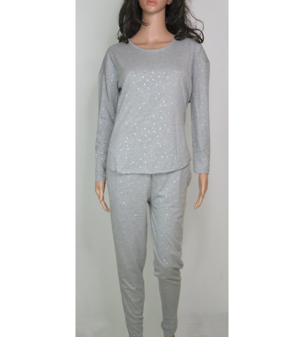 Ladies Glitter Printed Knit Pyjama Set