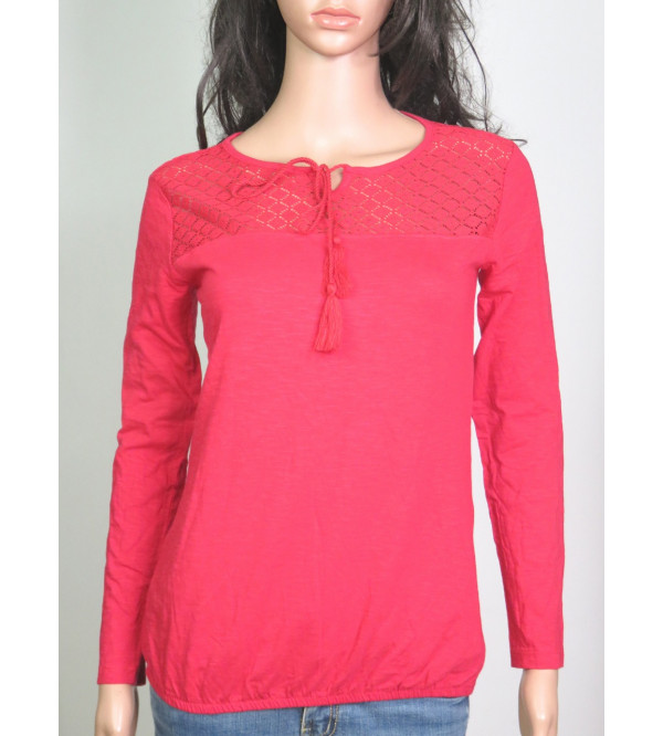 Ladies Long Sleeve T Shirts With Crochet
