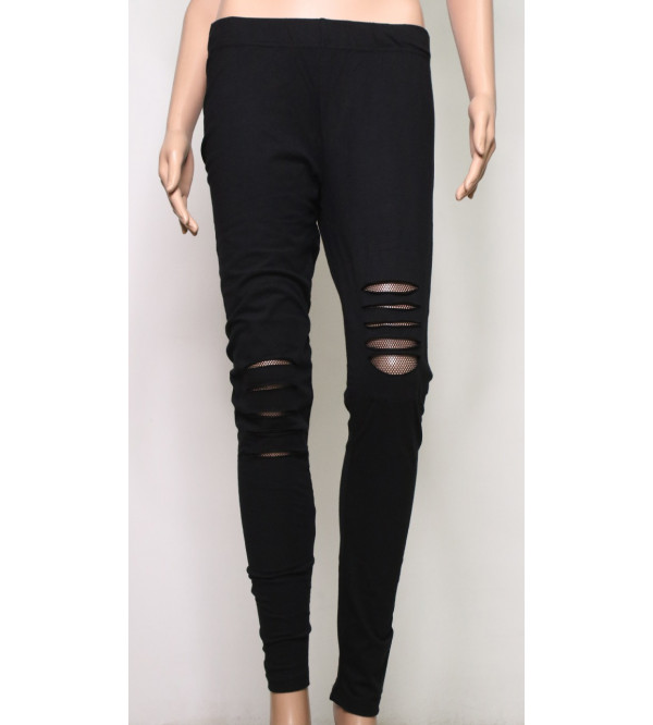 Ladies Stretch Legging With Mesh Trims