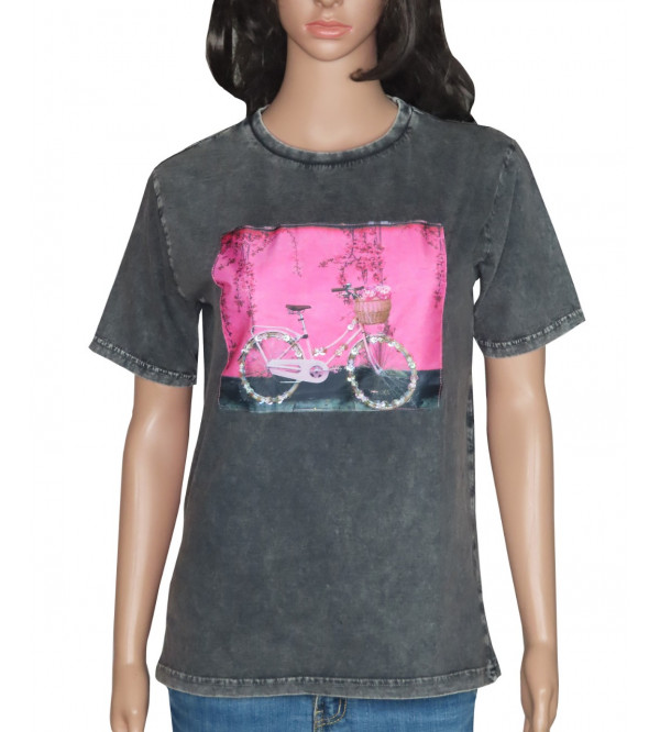 Ladies Printed T Shirt With Stone Work
