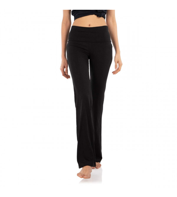 Ladies Folded Waist Yoga Pant With Draw String