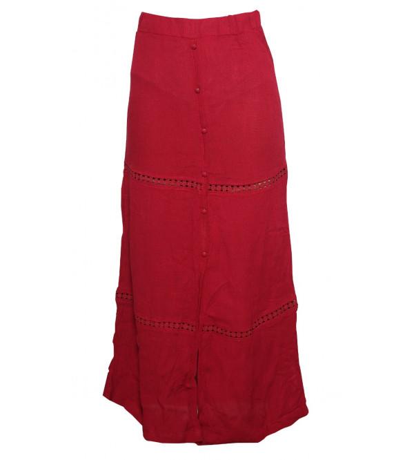 Ladies Viscose Woven Long Skirt