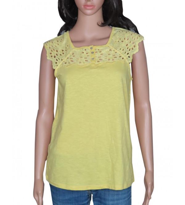 Ladies Cap Sleeve Crochet T Shirt