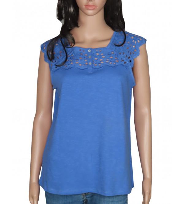 Ladies Cap Sleeve Crochet T Shirts