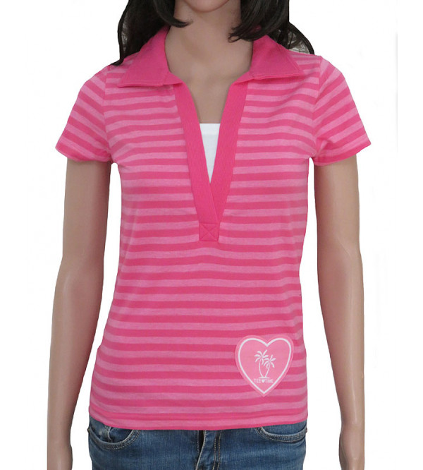 Ladies Short Sleeve Striped Polo T Shirt