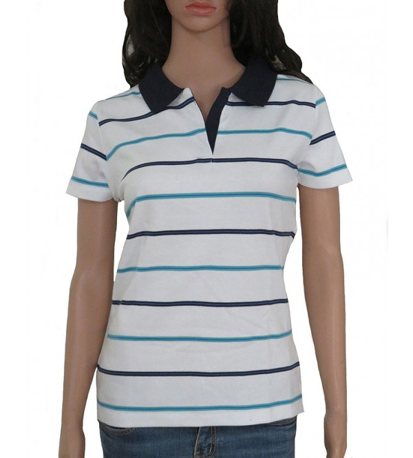 Ladies Striped Polo T Shirt
