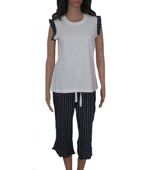 Ladies Printed Knit  Capri Pyjama Set