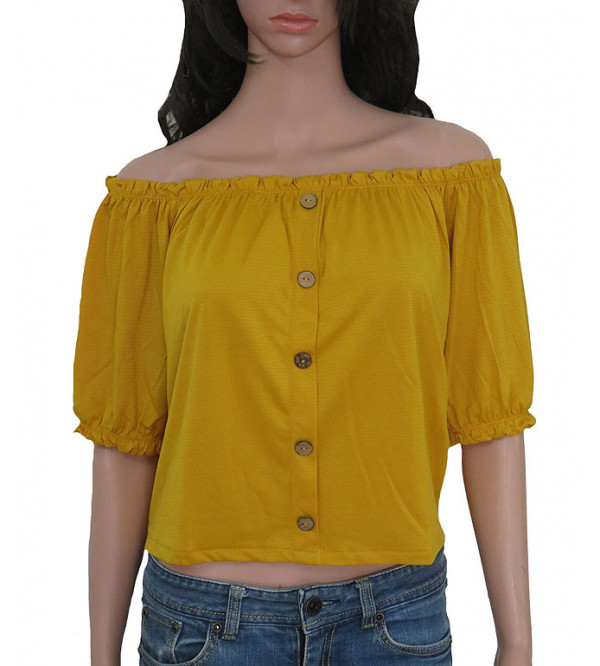 Jennyfer Ladies Shoulder Button Down Crop Blouse