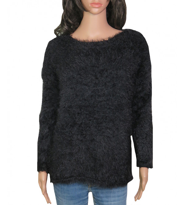 Ladies Boat-Neck Faux Fur Pullover