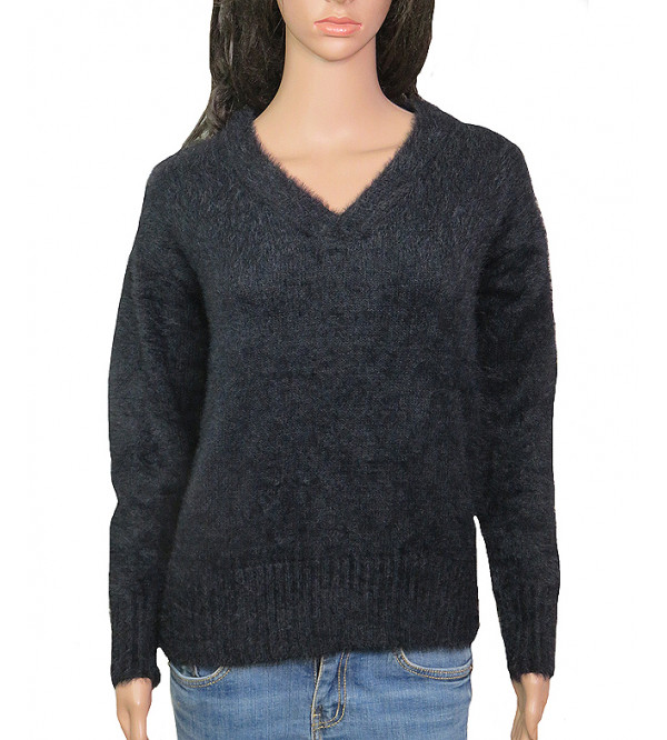 Ladies V-Neck Faux Fur Sweaters