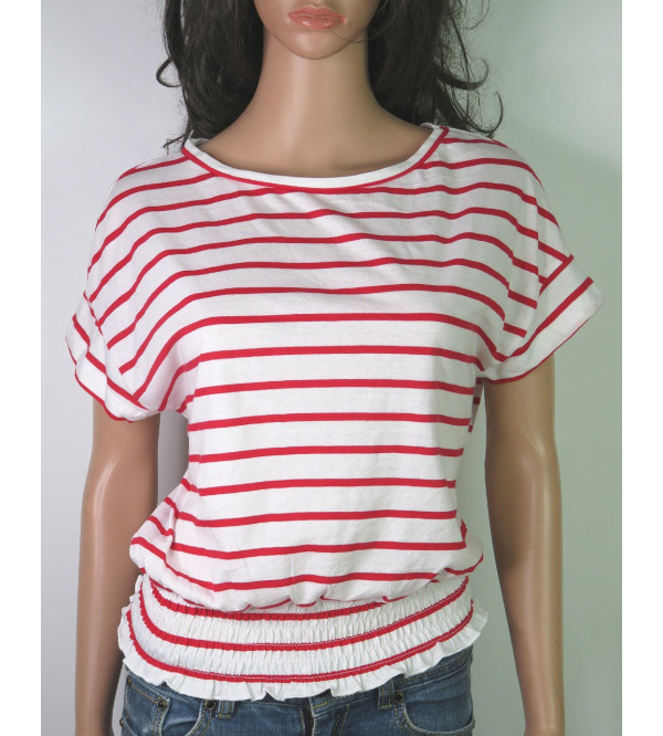 Ladies Striped Smocked-Waist Top