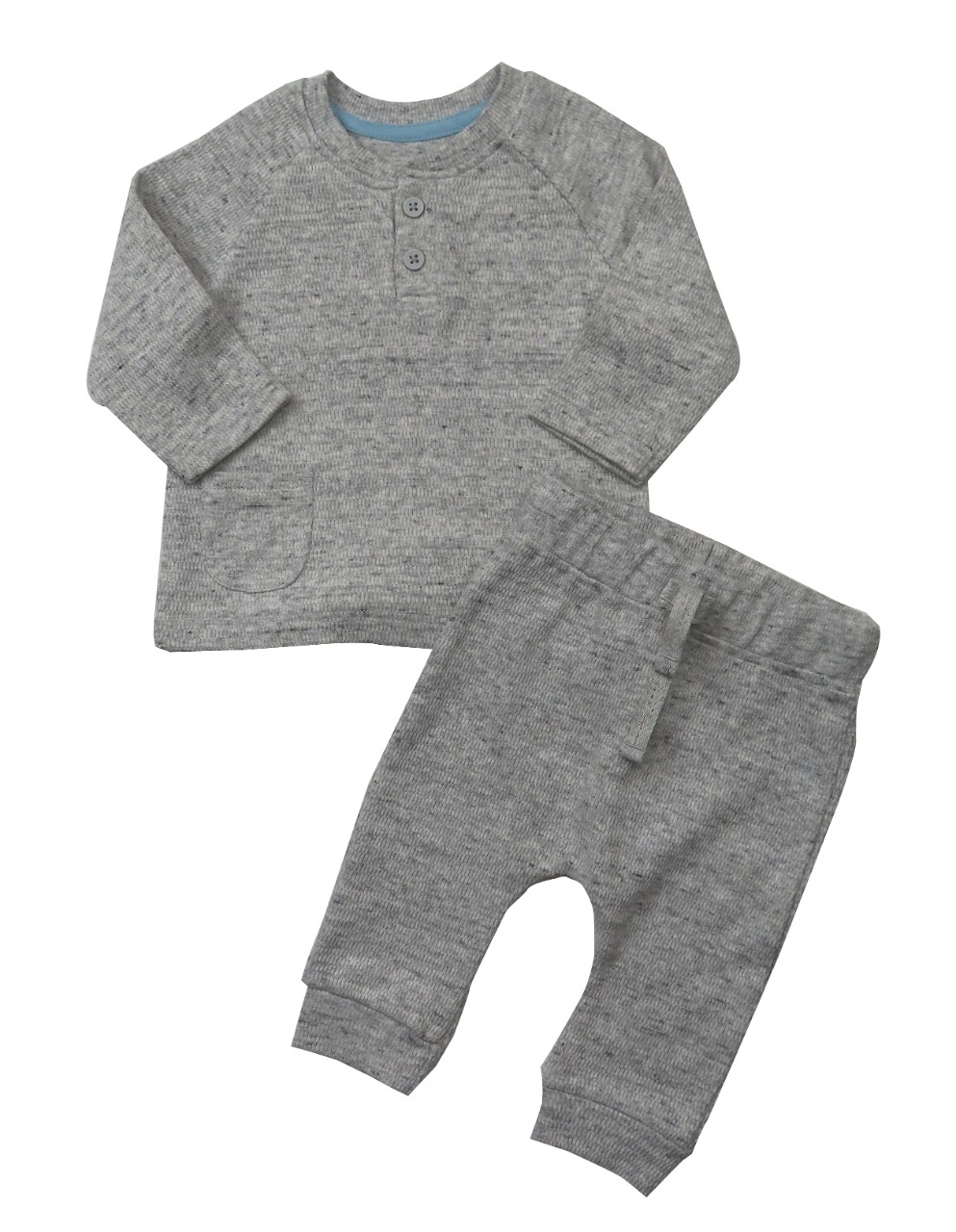 Baby Boys Waffle Knit 2 Pc Set (Henley Top n Pant)