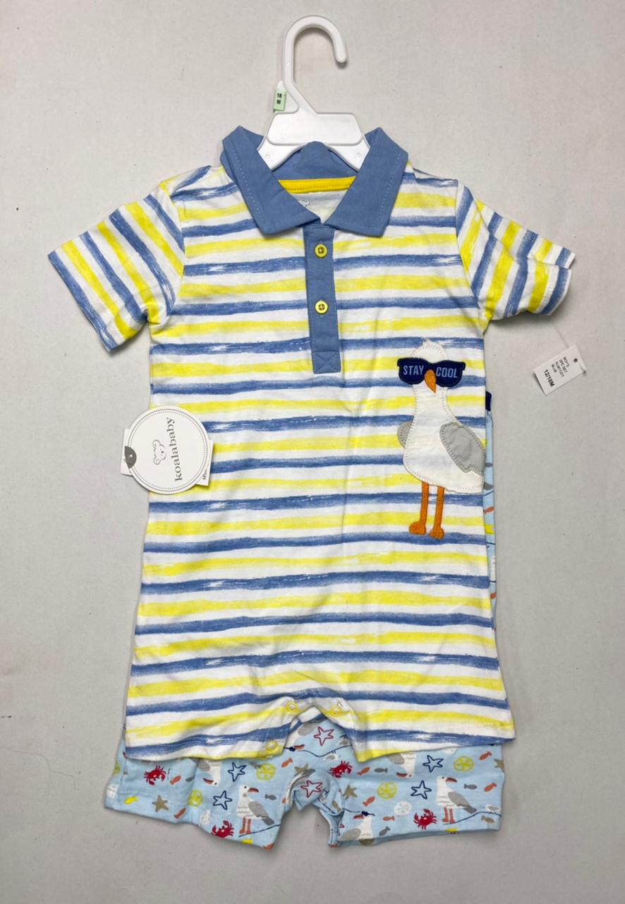 Baby 2 pack Printed and Applique Playsuits