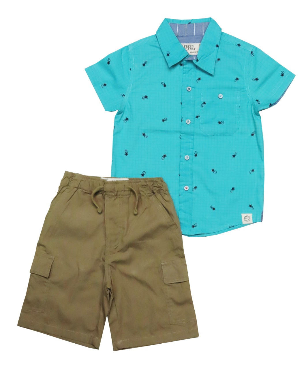 Boys 2 pcs Set Woven Shirt + Woven Shorts