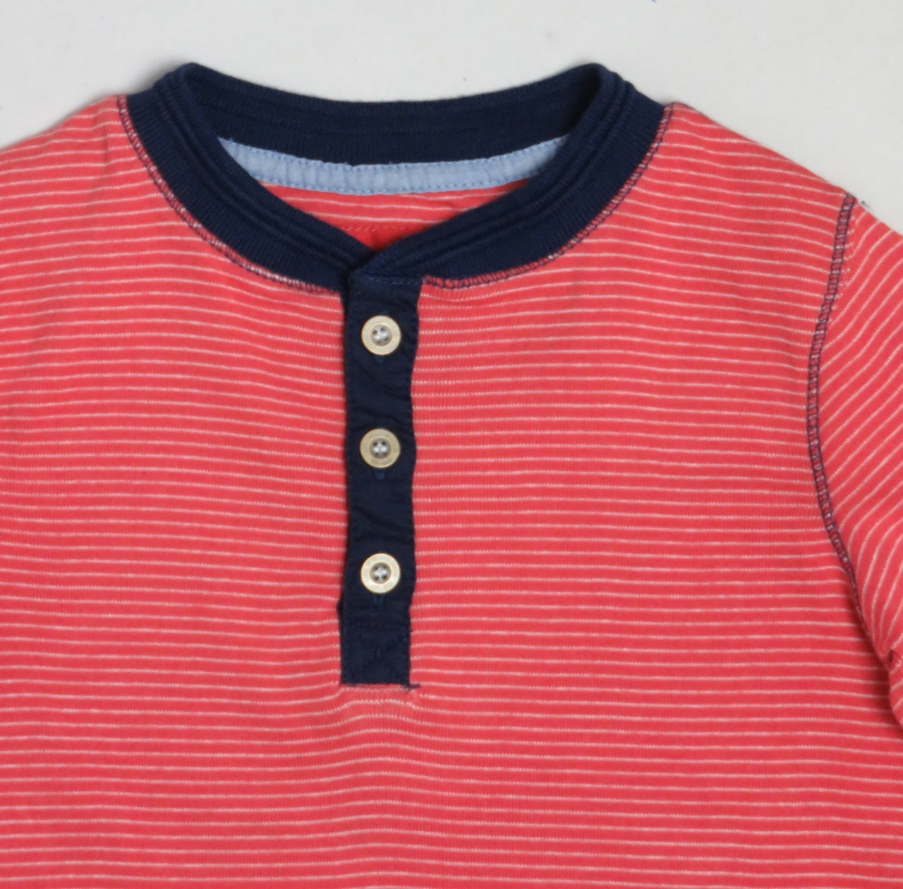 LOGG  Boys Henley Neck Striped T Shirt