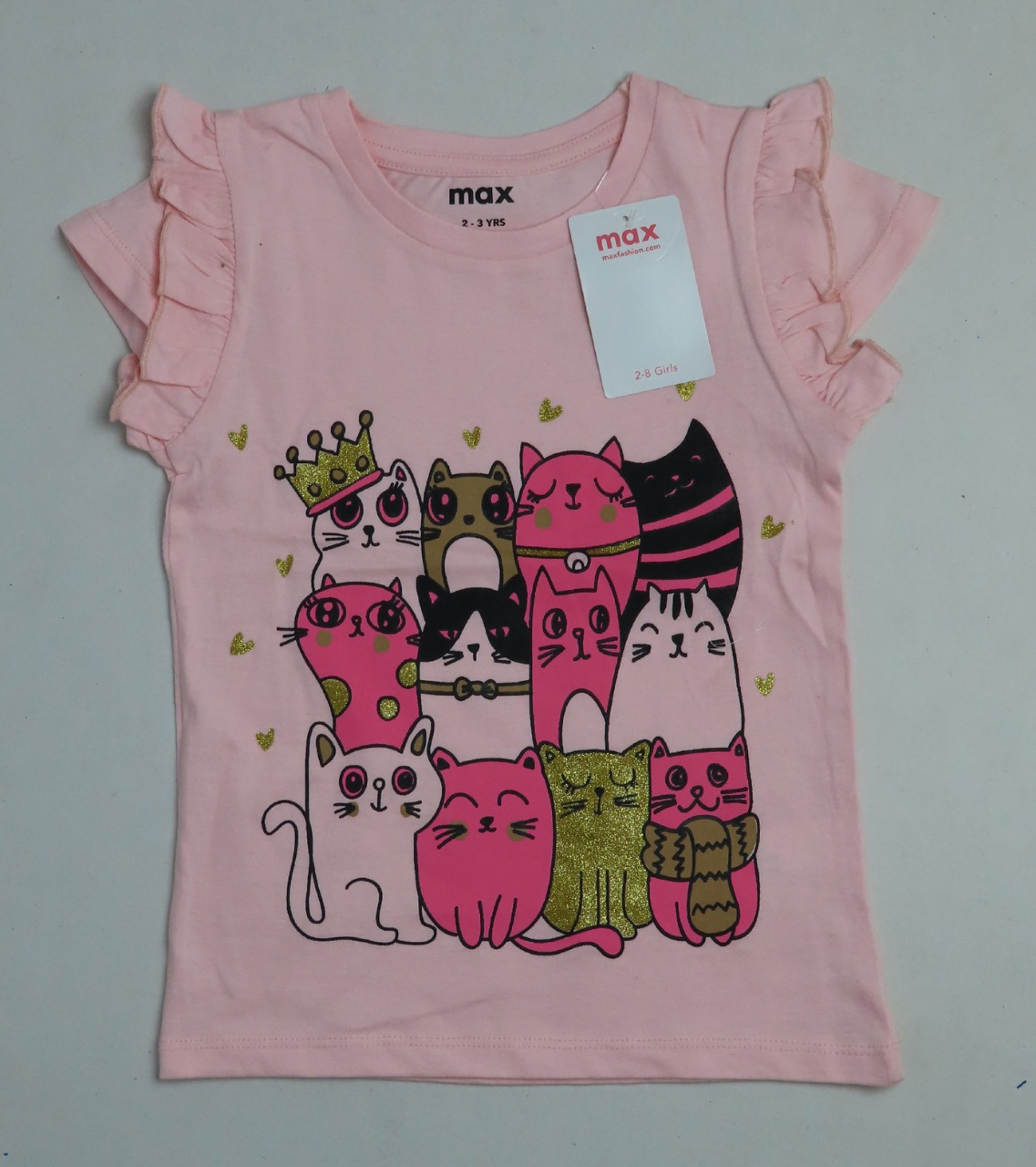 max Girls Glitter Printed T Shirt