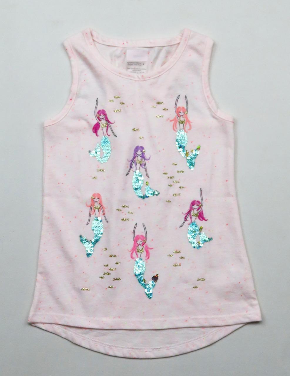 Girls Printed n Sequined Top