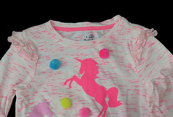 Girls Fancy T Shirt with Pom Pom Balls