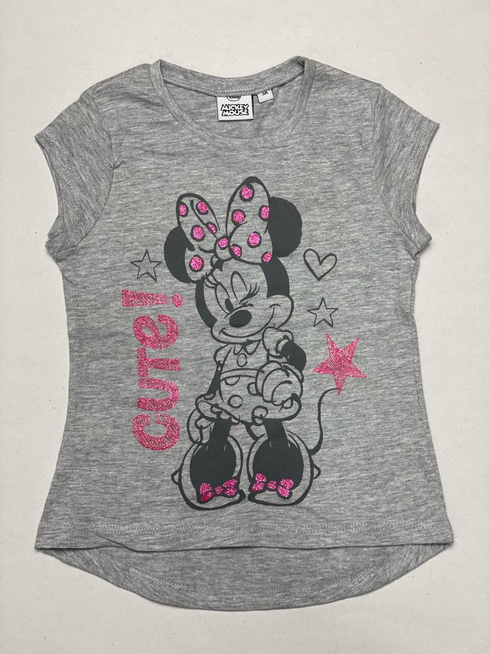 Minnie Mouse Glitter Printed Girls T-Shirt