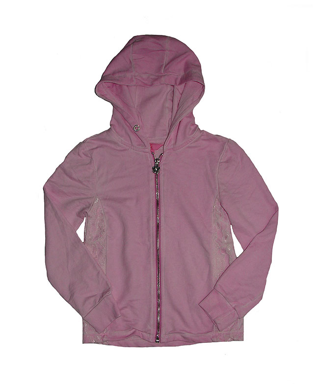 Girls Full Zipper Hooded Sweatshirts With Lace