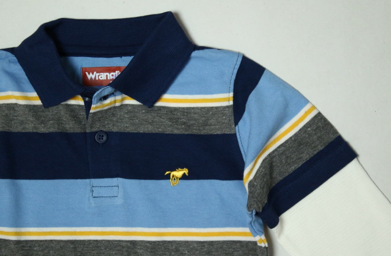 Wrangler Boys Striped Polos With Waffle Sleeve
