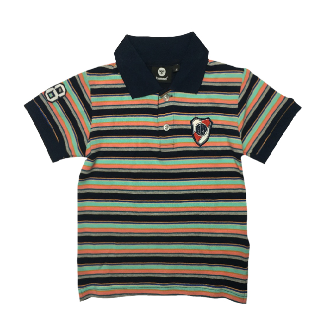 Boys Multi Striped Polos With Applique