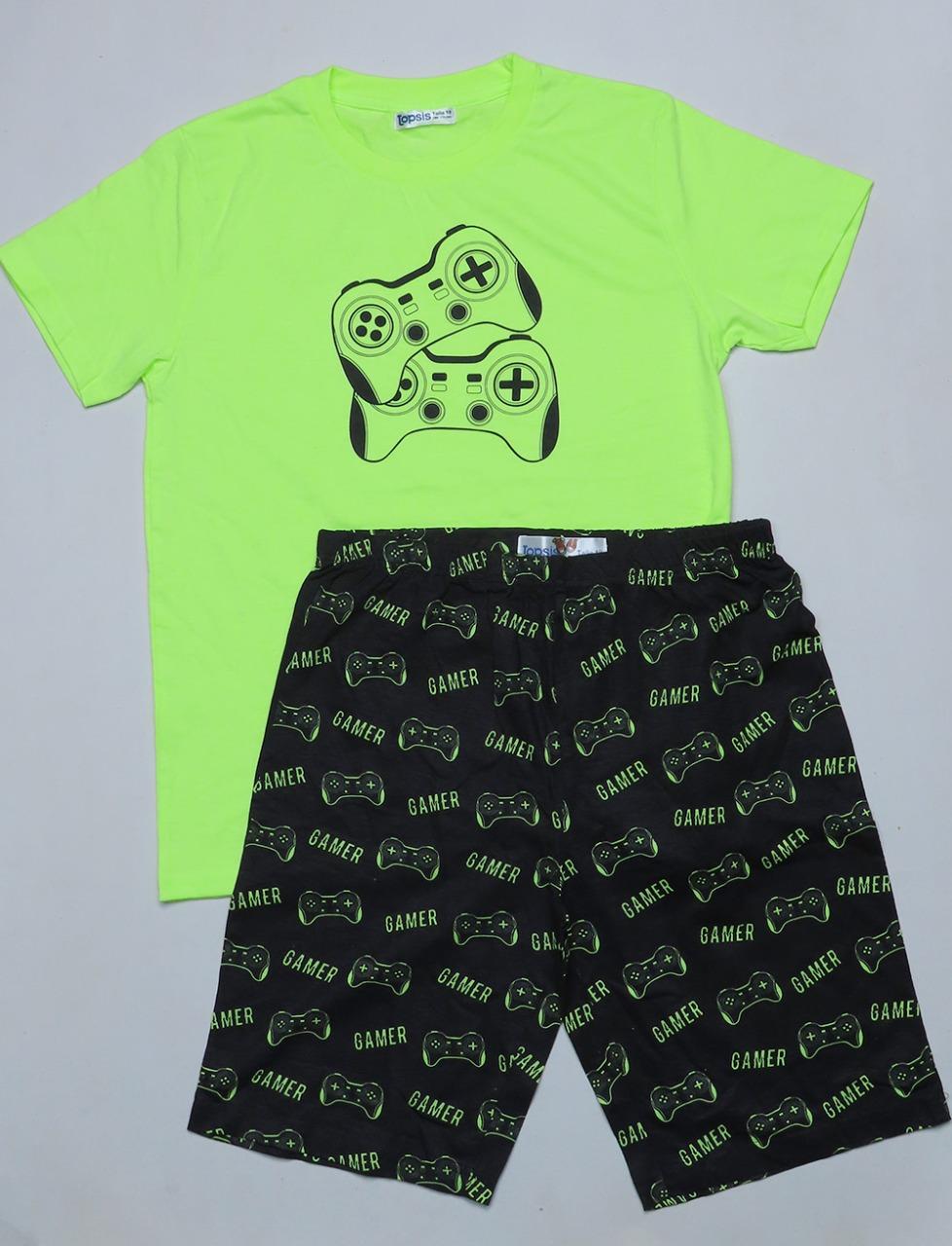 Older Boys Printed Shorty Pyjama Set