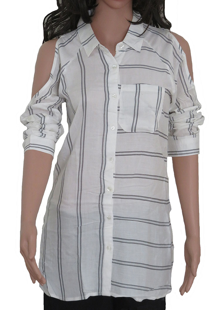 Ladies Striped Woven Blouse