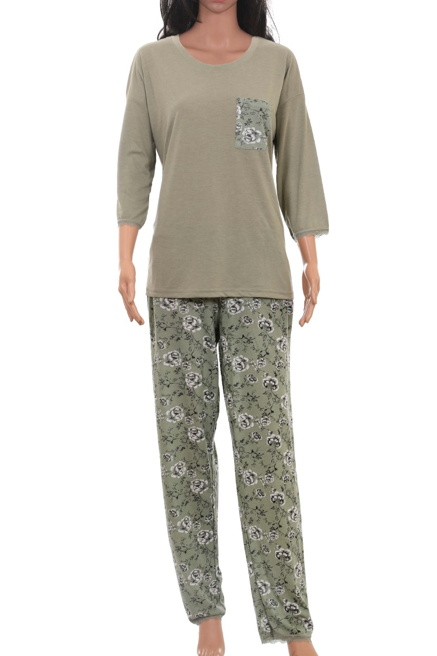 Ladies Viscose Printed Pyjama Set